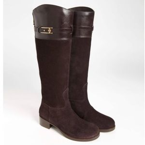 Tory Burch Leather and Suede Riding Boots